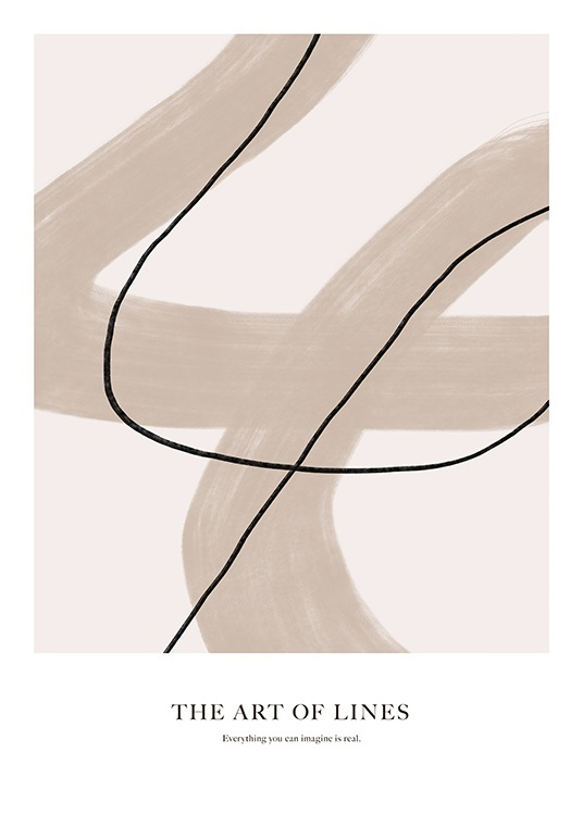 - Abstract illustration with a thin black and thick beige line on a light beige background