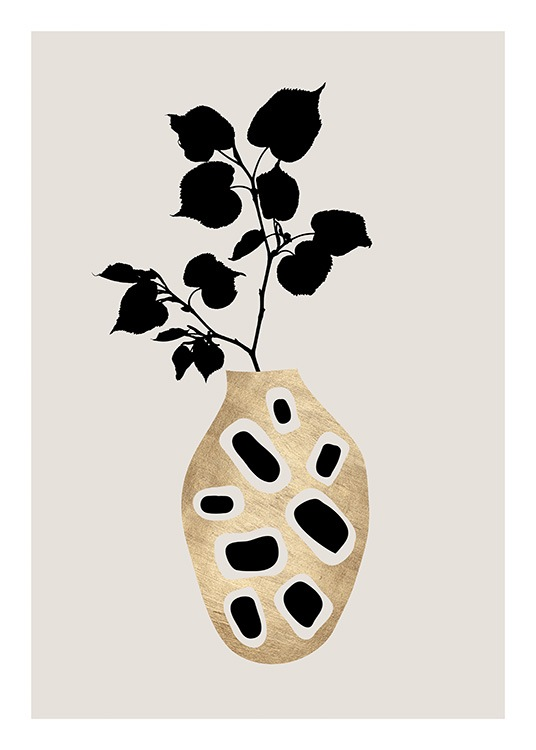 - Graphical print of a black plant in a golden vase with black details on it