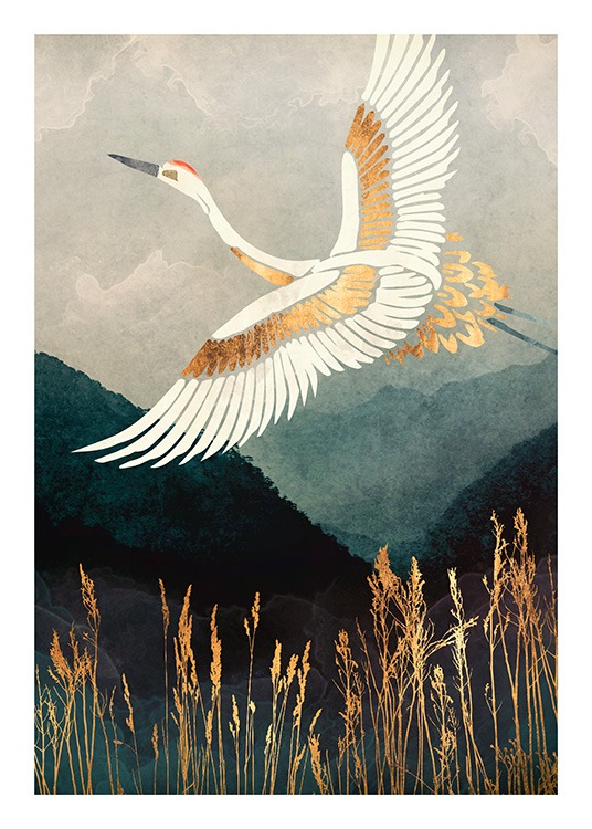 - Graphical illustration of a crane in white and gold, flying across a mountain landscape and high grass