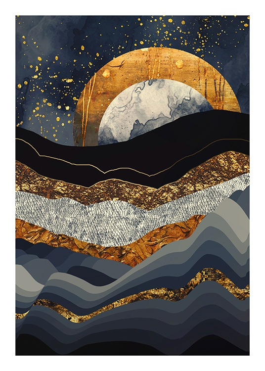 - Graphical illustration of a blue mountain landscape with a gold moon in the background