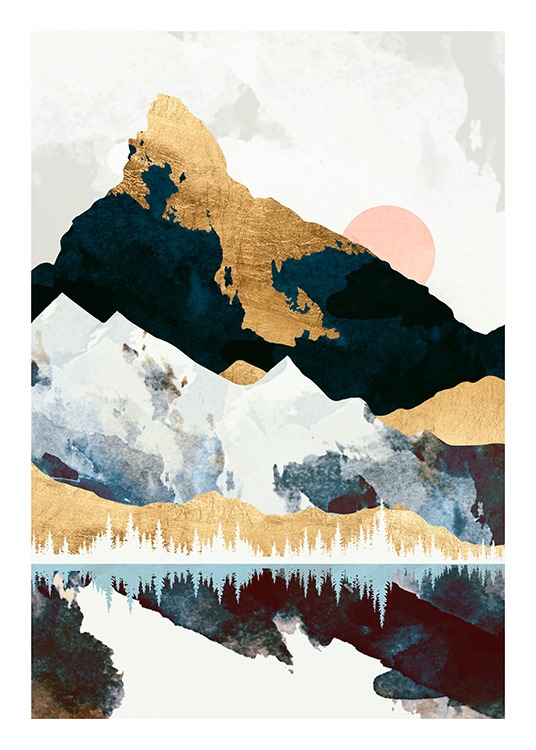 - Graphical illustration of a landscape with mountains and a moon reflecting in a lake