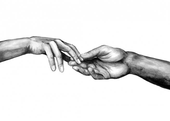 - Black and white watercolour painting of two hands reaching for each other