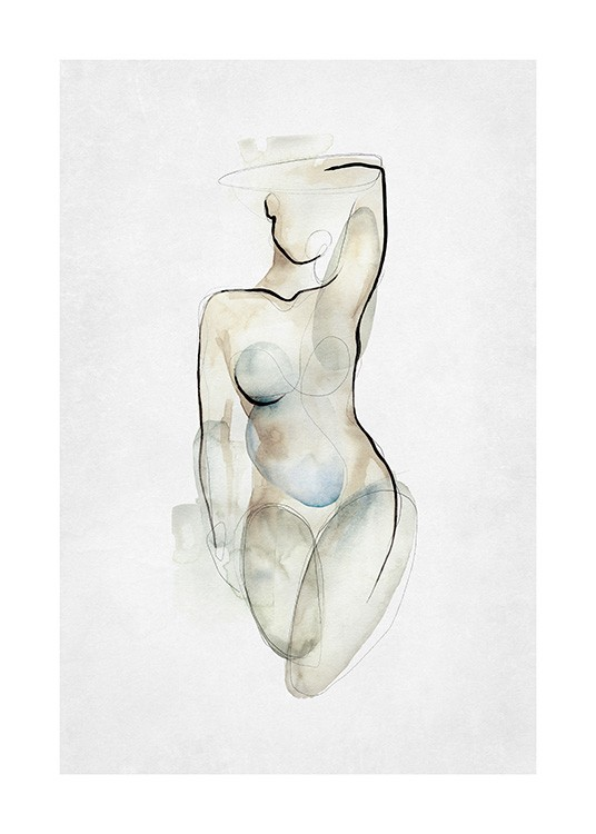 – Painting in watercolour of a naked, female body in beige, blue and grey