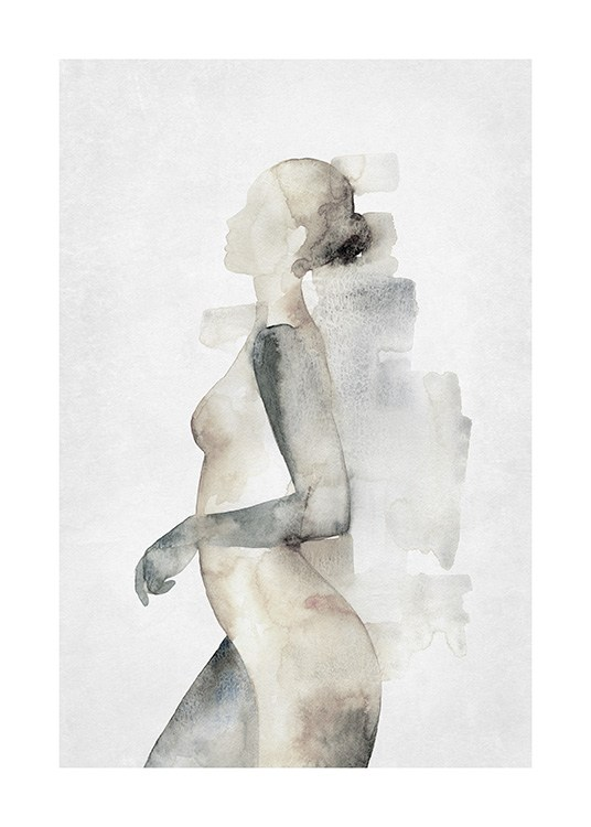 – Painting in watercolour of a naked woman in beige and grey seen from the side