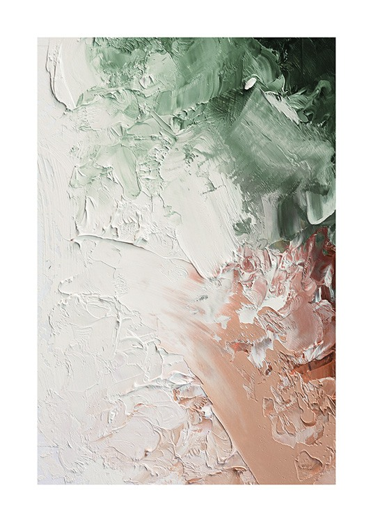 – Oil painting with abstract areas painted in green, pink and white