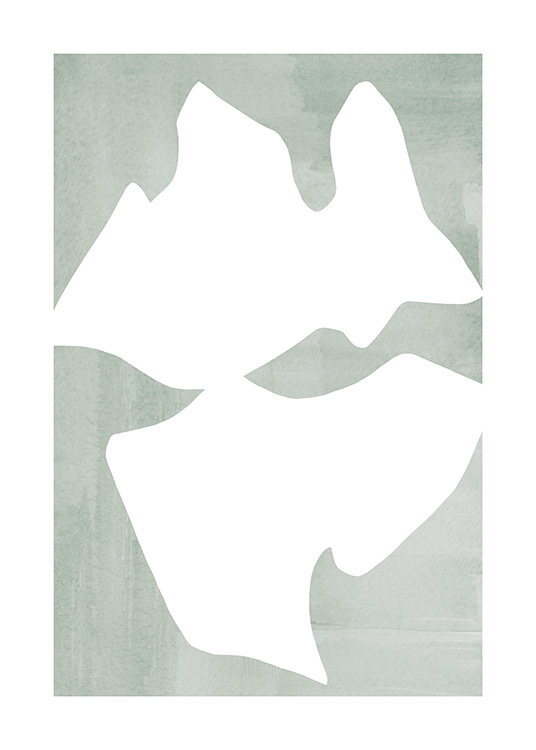 – Graphical illustration with white, abstract shapes on a mixed green background