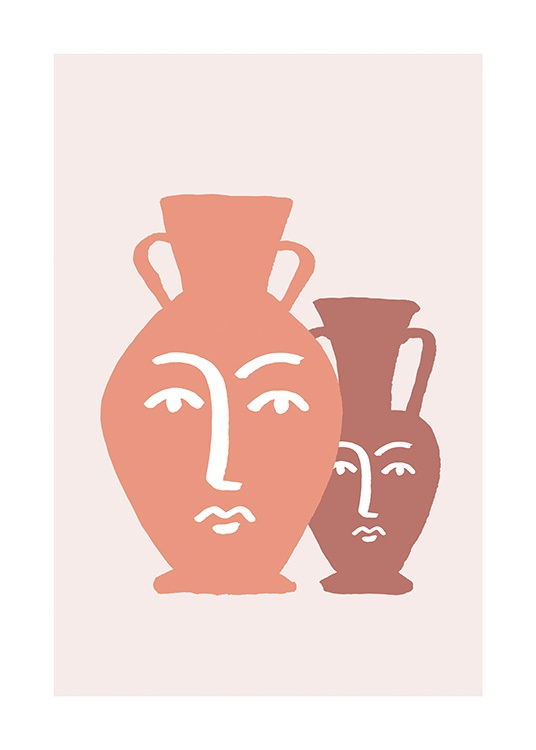 – Graphical illustration with vases in pink and brown, with abstract faces in white on them