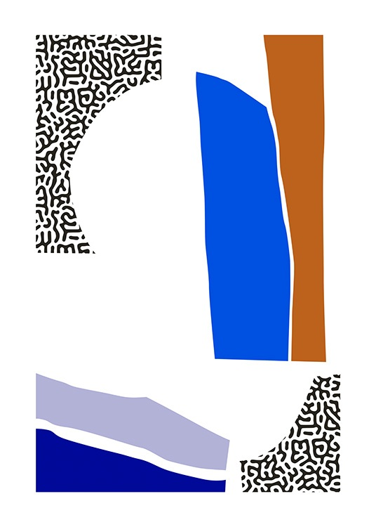 – Abstract graphical illustration with colour blocks in blue, brown and black and white