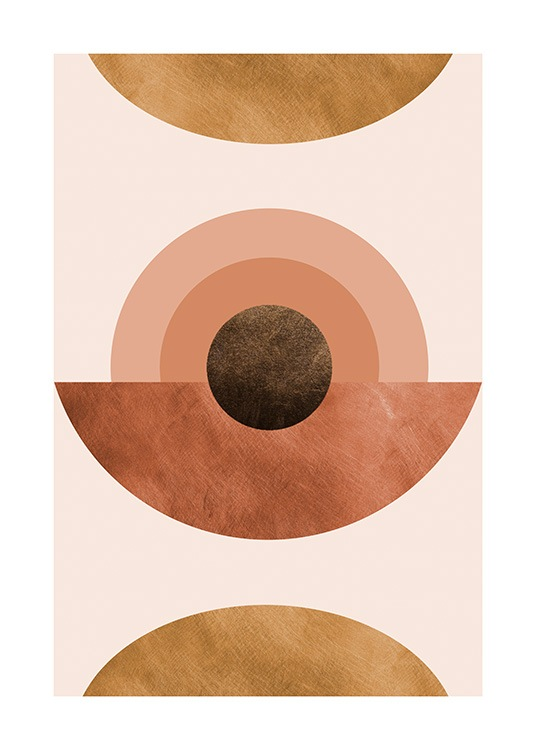 – Graphical illustration with abstract half-circles and circles in warm colours on a pink background
