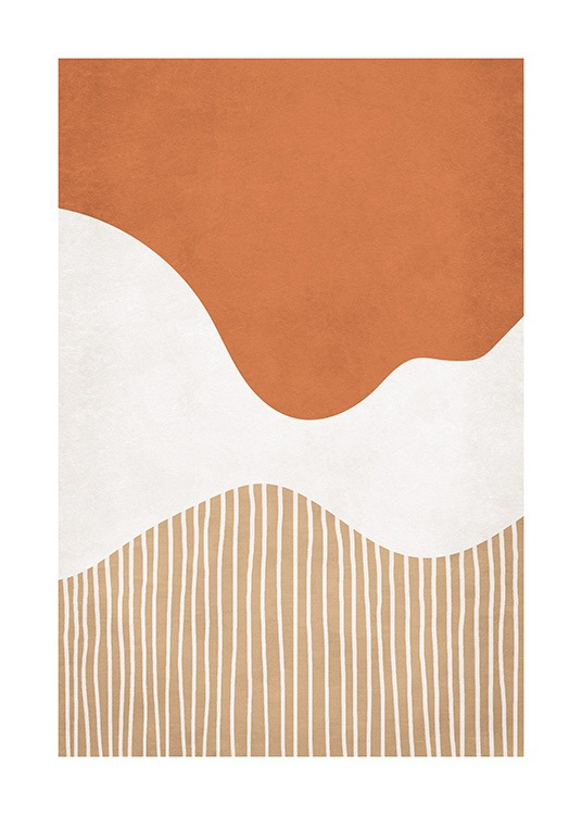 – Graphical illustration in orange, white and beige with abstract shapes and lines