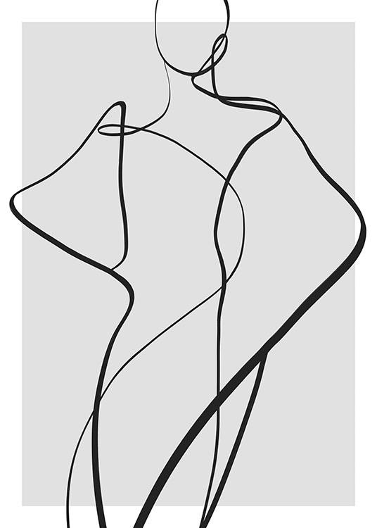– Illustration with line art forming a body in black on a grey background