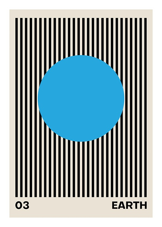 – Graphic illustration with black stripes behind a blue circle, with a beige background