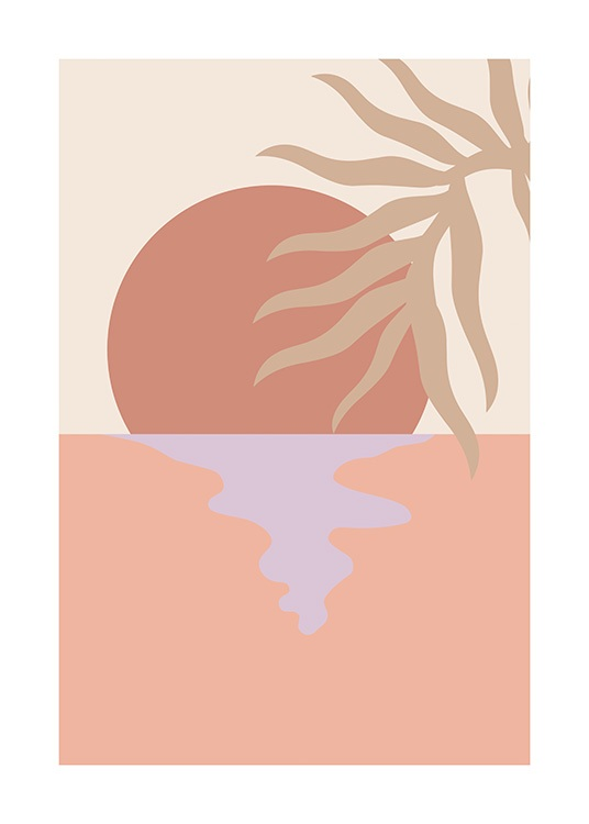 – Graphic illustration of beige palm leaves in front of a sunset