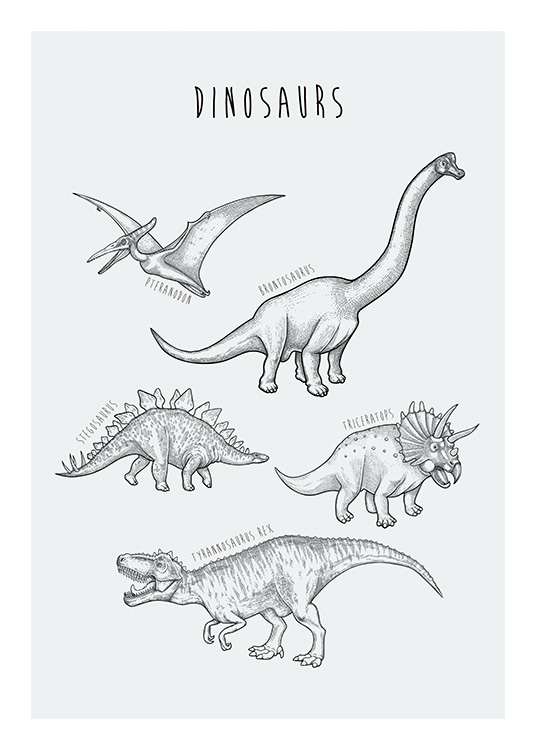 – Hand drawn illustration with various sorts of dinosaurs on a light grey background