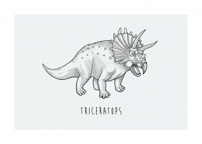 – Illustration of the dinosaur Triceratops, drawn in black on a light grey background