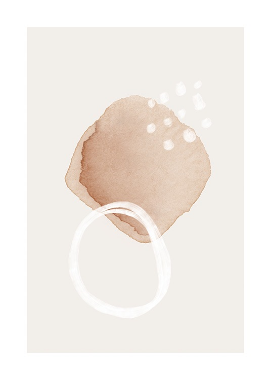 – Illustration in aquarelle of white dots and a white circle on top of a beige shape