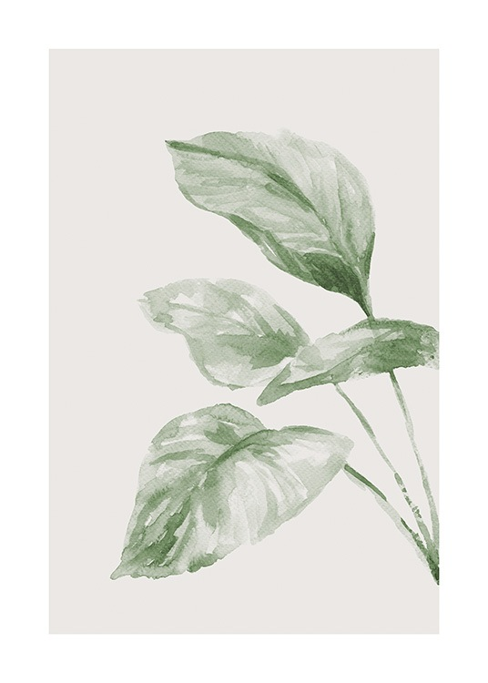 – Green leaves painted in watercolour against a light beige background