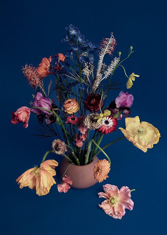 – Photograph of a bouquet with colourful flowers in a vase against a dark blue background