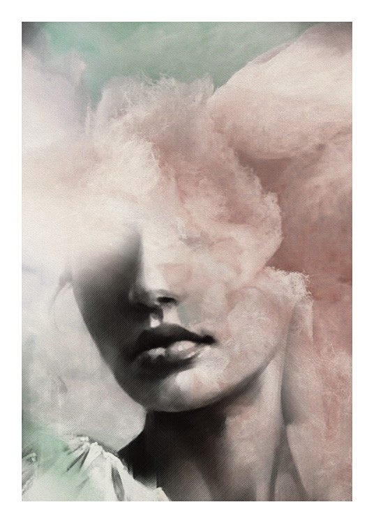 – Illustration of the face of a woman, covered by clouds in green and pink