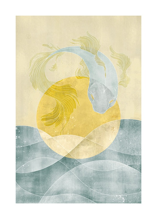 – Illustration of a fish in blue and yellow with an ocean and sun in the background