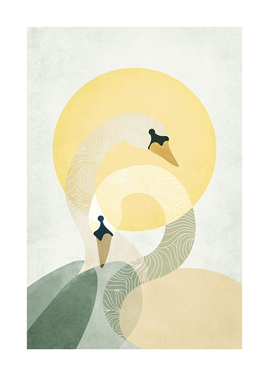 – Illustration with a couple of swans in front of a yellow sun