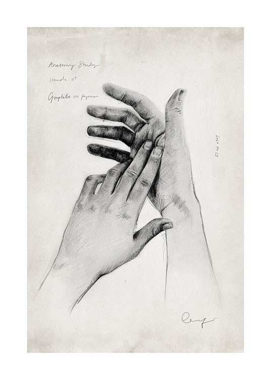 – Hand-drawn sketch of a pair of hands surrounded with small text on a beige background