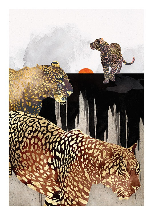 – Graphic illustration of three leopards in black and gold, with a black and grey background