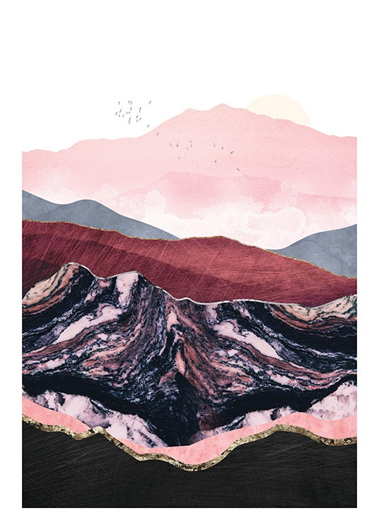– Graphic illustration with a group of birds over mountains in purple, pink and red with gold linings