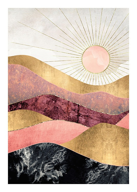 – Graphic illustration with mountains in pink, red and black with a gold lining, and a sun in the background