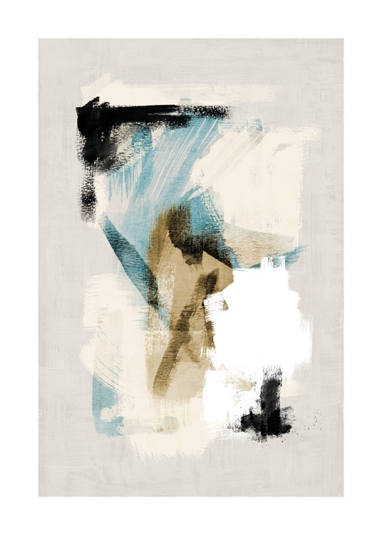– Painting with abstract brush strokes in white, blue, beige and black, on a beige background