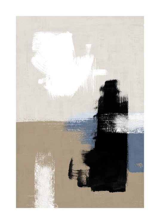 – Painting with shapes in black, white and blue against a brown and beige background