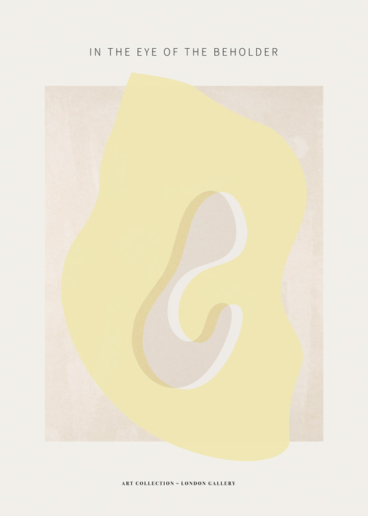 – Graphic illustration with an abstract shape in yellow on a light pink and beige background