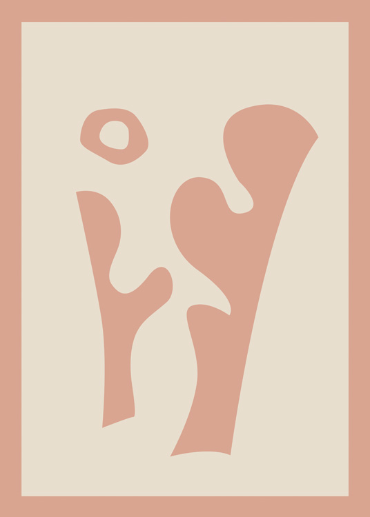 – Graphic illustration with abstract shapes in brown on a beige background