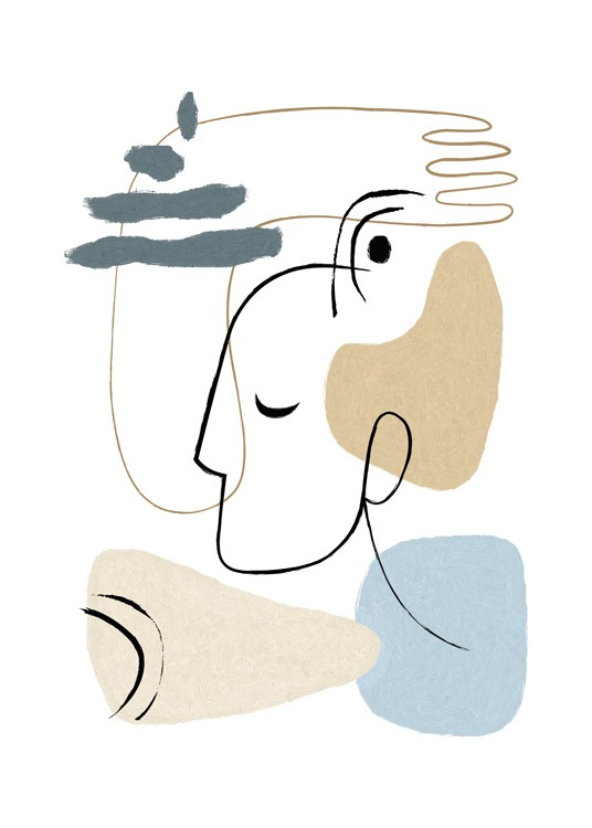 – Illustration with abstract shapes in blue and beige, and a hand and face in line art on a white background