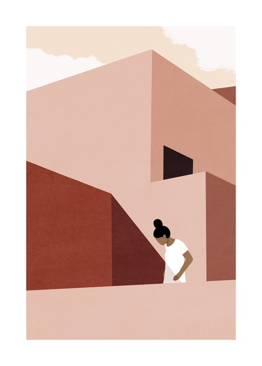 – Graphic illustration of a pink and red modern house, with a woman in the foreground