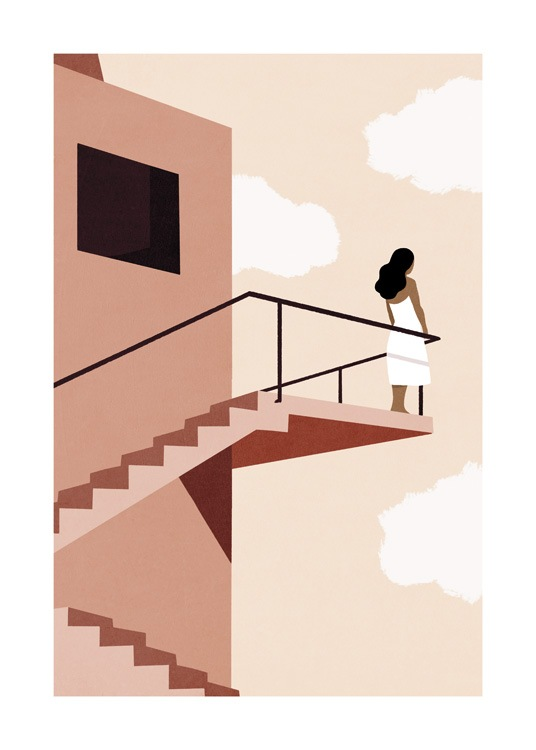 – Graphic illustration of a staircase outside of a house, with a woman standing on top of it