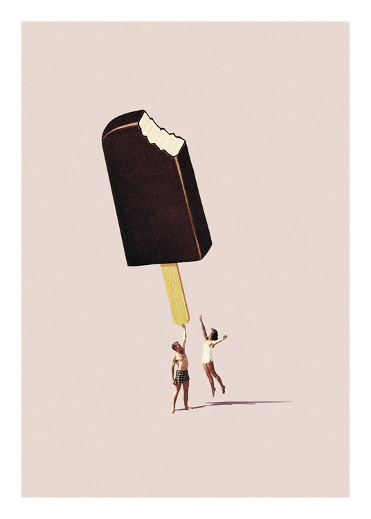 – Graphic illustration with a large ice cream above two people, against a beige background
