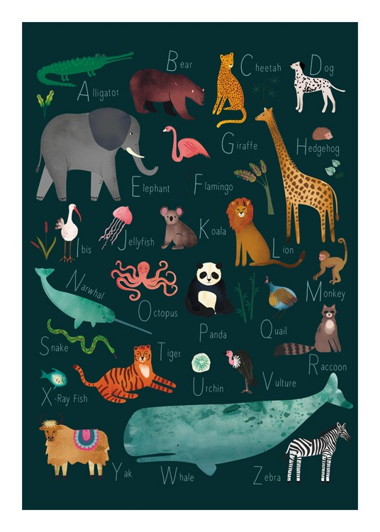 – Illustration with animals on a green background with their names starting on each letter of the alphabet