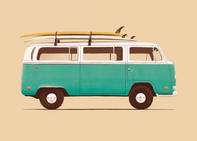 – Illustration of a vintage van in green and white, with surfboards on the roof