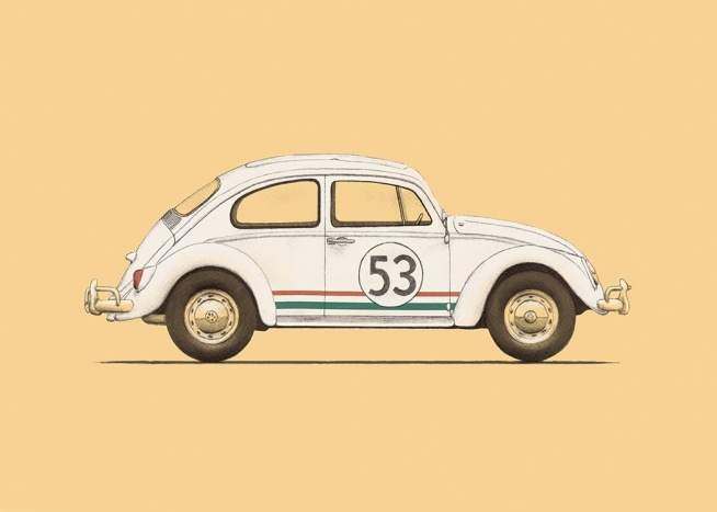 – Illustration of a Beetle in white with a red and green stripe and the number 53 on the side, against a yellow background