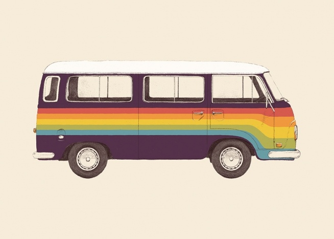 – Illustration of a colourful van in purple with stripes painted in red, orange, yellow, green and blue across it