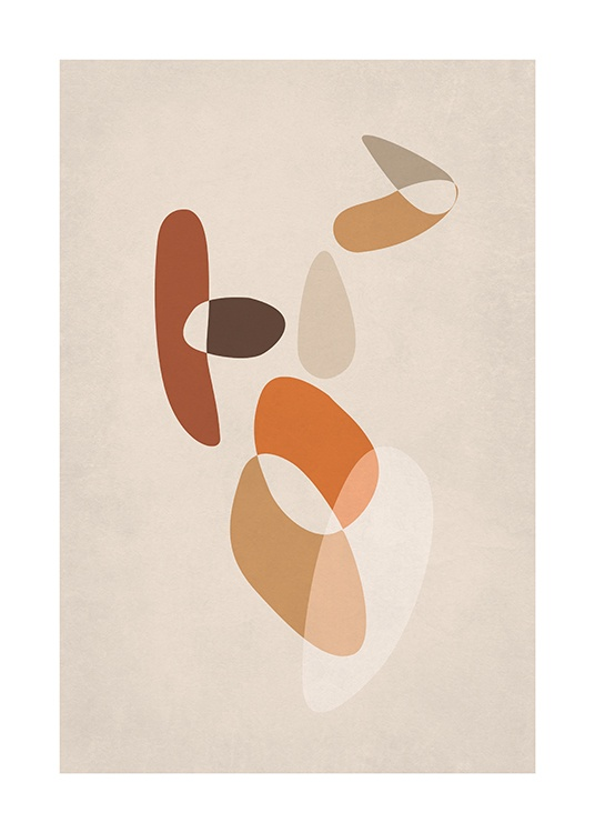 – Graphic illustration of an abstract body made up of brown and orange shapes