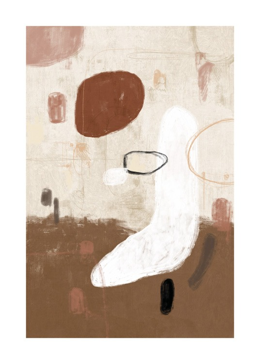 – Abstract painting with shapes in white, brown and pink on a beige background