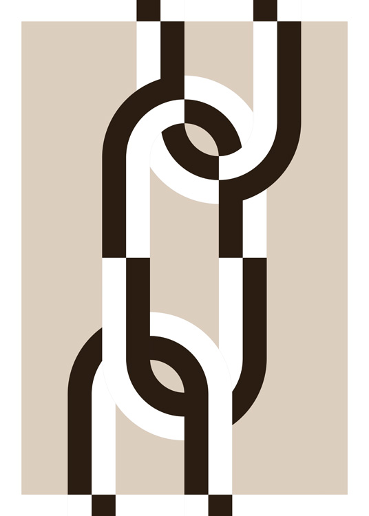 – Graphic illustration of an abstract chain in black and white against a beige background