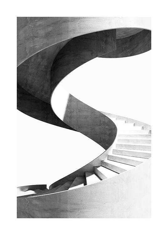 – Black and white photograph of a marble spiral staircase against a white background
