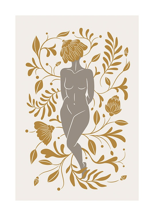 – Graphic illustration of orange leaves and flowers surrounding a naked woman with a beige background