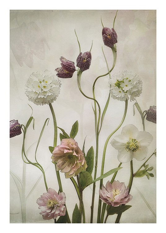 – Painting of a bundle of wild garden flowers in white, purple and pink against a beige background