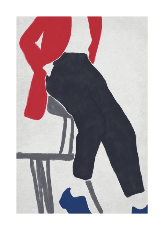 – Illustration of a person wearing a red jacket, black trousers and blue shoes, leaning back onto a chair