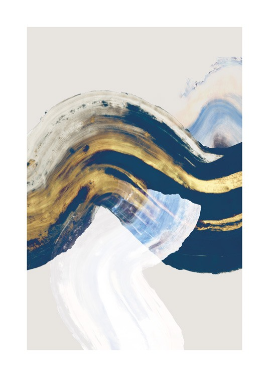 – Painting with abstract brush swirls in gold, white and blue on a beige background