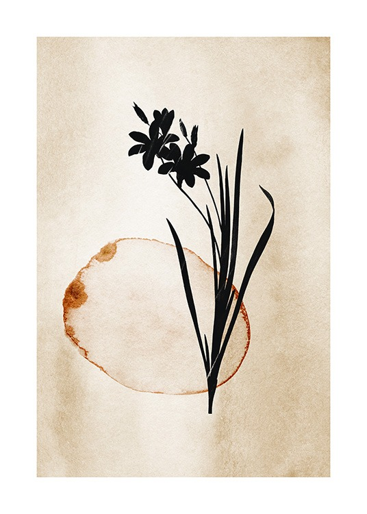 – Painting in watercolour of a black flower with leaves and a brown circle on a beige background